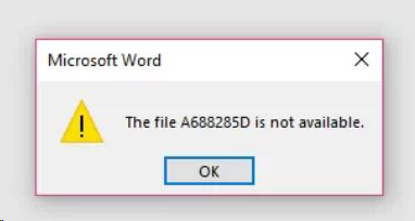 Microsoft Word - The file is not available