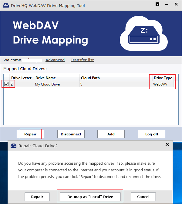 Re-map webdav cloud drive as Local Drive